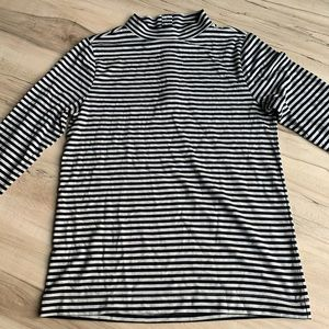 LOFT Striped Black / Gray Mock Turtleneck Medium